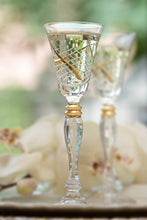 "Load image into Gallery viewer, Crystal Cordial Liquor Glasses, 7"" Height, 2 oz,24K Gold - EK CHIC HOME"