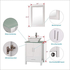 "Homecart 24"" White Bathroom Vanity Cabinet and Sink Combo Modern MDF with Mirror Tempered Glass Counter Top Vessel Sink Faucet and Pop up Drain - EK CHIC HOME"