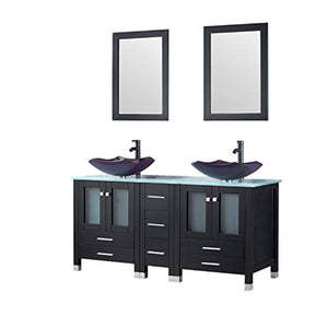 "60"" Bathroom Double Wood Vanities Cabinet with Mirrors Flower Purple Tempered Glass Vessel Sink Combo Oil Rubbed Bronze Faucet Pop-up Drain - EK CHIC HOME"
