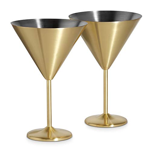 Gold Martini Cocktail Glasses, Brushed Gold Stainless Steel, Set of 2 with Gift Box - EK CHIC HOME