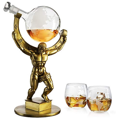 Atalas Bronze World Globe Whiskey Decanter - 15