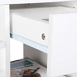 White Computer Desk with Drawers for Home Office - EK CHIC HOME