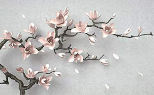 3D Embossed Floral Wallpaper Magnolia Blossom Wall Art - EK CHIC HOME