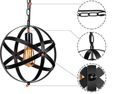 Load image into Gallery viewer, Industrial 2 Pack Vintage Spherical Pendant Light Fixture with 39.3 Inches Adjustable - EK CHIC HOME