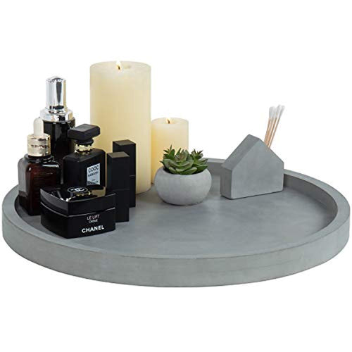 16-Inch Concrete Grey Round Vanity Tray - EK CHIC HOME