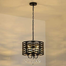 Load image into Gallery viewer, 3-Lights Crystal Chandelier, Antique Black Round Beaded - EK CHIC HOME