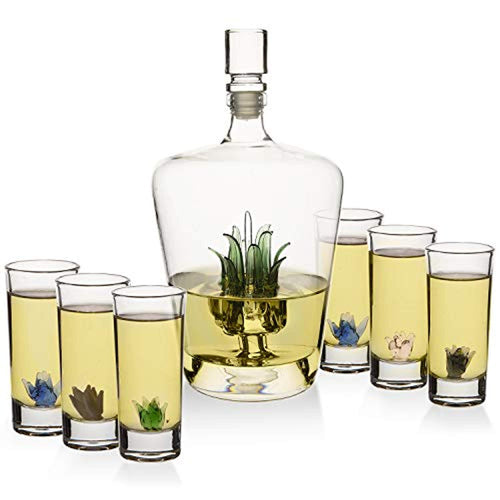 Tequila Decanter Set With Agave and 6 Agave Shot Glasses - EK CHIC HOME