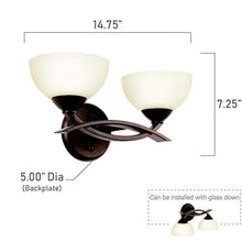 "Load image into Gallery viewer, Wall Lighting Fixtures, Bronze 2 Light (15"" W x 8"" H) 120 Watts - EK CHIC HOME"