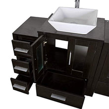 "Load image into Gallery viewer, 72"" Bathroom Vanity Cabinet and Double Sink Combo Black Wood w/Faucet Sink and Drain - EK CHIC HOME"