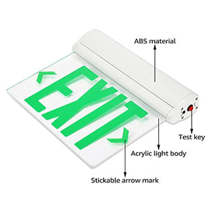 LED Edge Lit Green Exit Sign Single Face - Rotating Panel- Pack of 2 - EK CHIC HOME