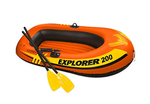 Explorer 200, 2-Person Inflatable Boat Set with French Oars and Mini Air Pump - EK CHIC HOME