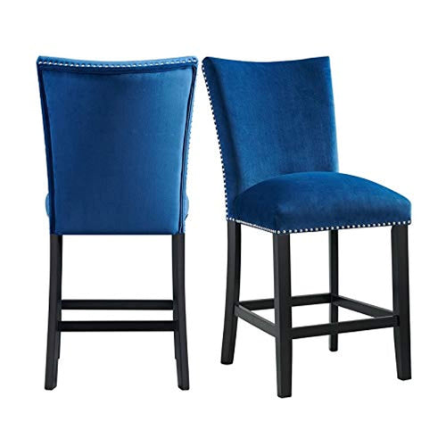 Celine Blue Velvet Counter Height Chair Set