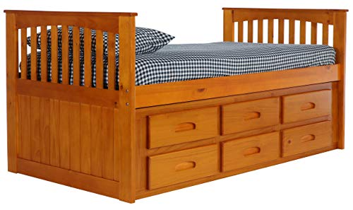 Discovery World Furniture Rake Bed with 12 Drawers, Twin, Honey - EK CHIC HOME