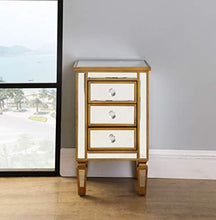 Load image into Gallery viewer, 3-Drawer Mirrored End Table - Mirrored Nightstand Glass Bedside Table, Antique Gold - EK CHIC HOME