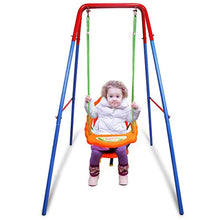 Load image into Gallery viewer, Toddler Swing Set, High Back Seat with Safety Belt, A-Frame Outdoor Swing Chair, Metal Swing Set for Backyard - EK CHIC HOME