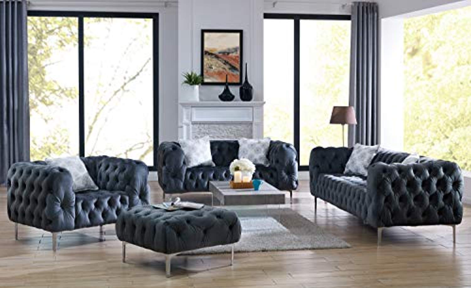 Comfort Plush Tufted 3pc Sofa Set Living Room Furniture
