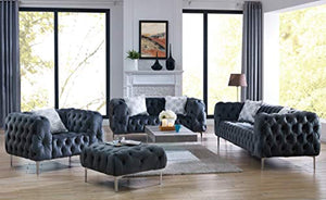 Comfort Plush Tufted 3pc Sofa Set Living Room Furniture - EK CHIC HOME