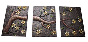 Elegant Metal Back/Yellow Flower Hand-Made Wall Sculpture 3pcs/set - EK CHIC HOME