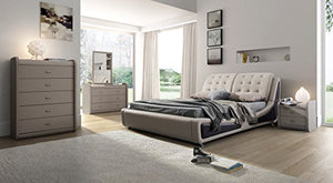 Victoria Leather Contemporary Platform Bed - EK CHIC HOME