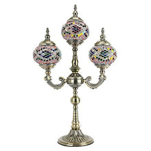 Load image into Gallery viewer, Mosaic Glass Lamp 3 Globes Candelabra Moroccan Tiffany Style Lamp - EK CHIC HOME