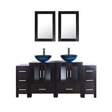 "Load image into Gallery viewer, 72"" Black Bathroom Vanity Cabinet and Sink Combo Double Top Black Wood Texture w/Faucet Drain and Mirror - EK CHIC HOME"