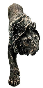 Collectible, The King of The Jungle Bronzed Lion Figurine Battle Attacking Stance Statue - EK CHIC HOME