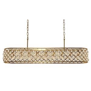 Cassiel Rectangular Crystal Chandelier, Brass - 38.5 inches - EK CHIC HOME