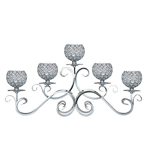5 Arms Candelabra Home Holiday Decorative Centerpiece Silver Crystal Candle Holders - EK CHIC HOME