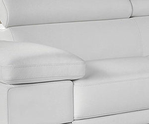 White Premium Italian Leather Sectional Sofa Modern Contemporary (Right) - EK CHIC HOME