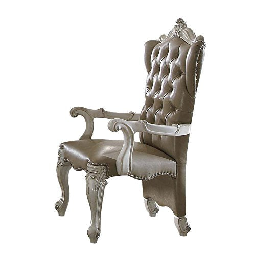 Versailles Vintage Gray Faux Leather Arm Chair Set of 2 - EK CHIC HOME