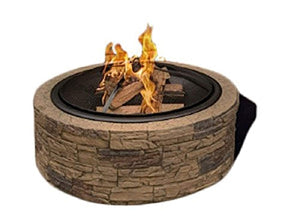 "Cast Stone Wood Burning Fire Pit 35"" Diameter Steel Base - EK CHIC HOME"