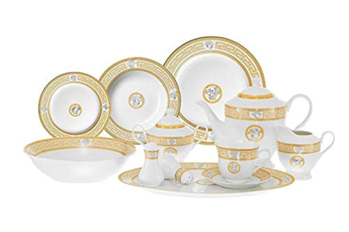 49-pc Dinner Set Medusa, Greek Key, Banquet Set Service for 8 - EK CHIC HOME