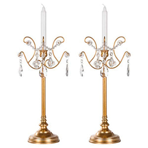 Tiffany 2-Piece Vintage Gold Metal Candelabra Set, Votive Candle Taper - EK CHIC HOME