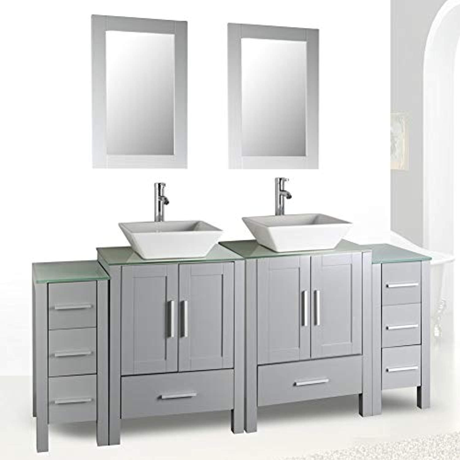 72 Double Sink Grey Bathroom Vanity Modern Design Glass Top W Mirror Ek Chic Home