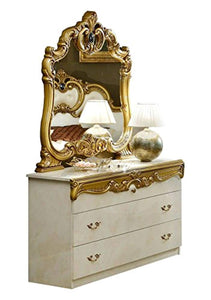Veda Luxury Glossy Ivory Gold Bedroom Set 5 Classic Made in Italy (Queen) - EK CHIC HOME