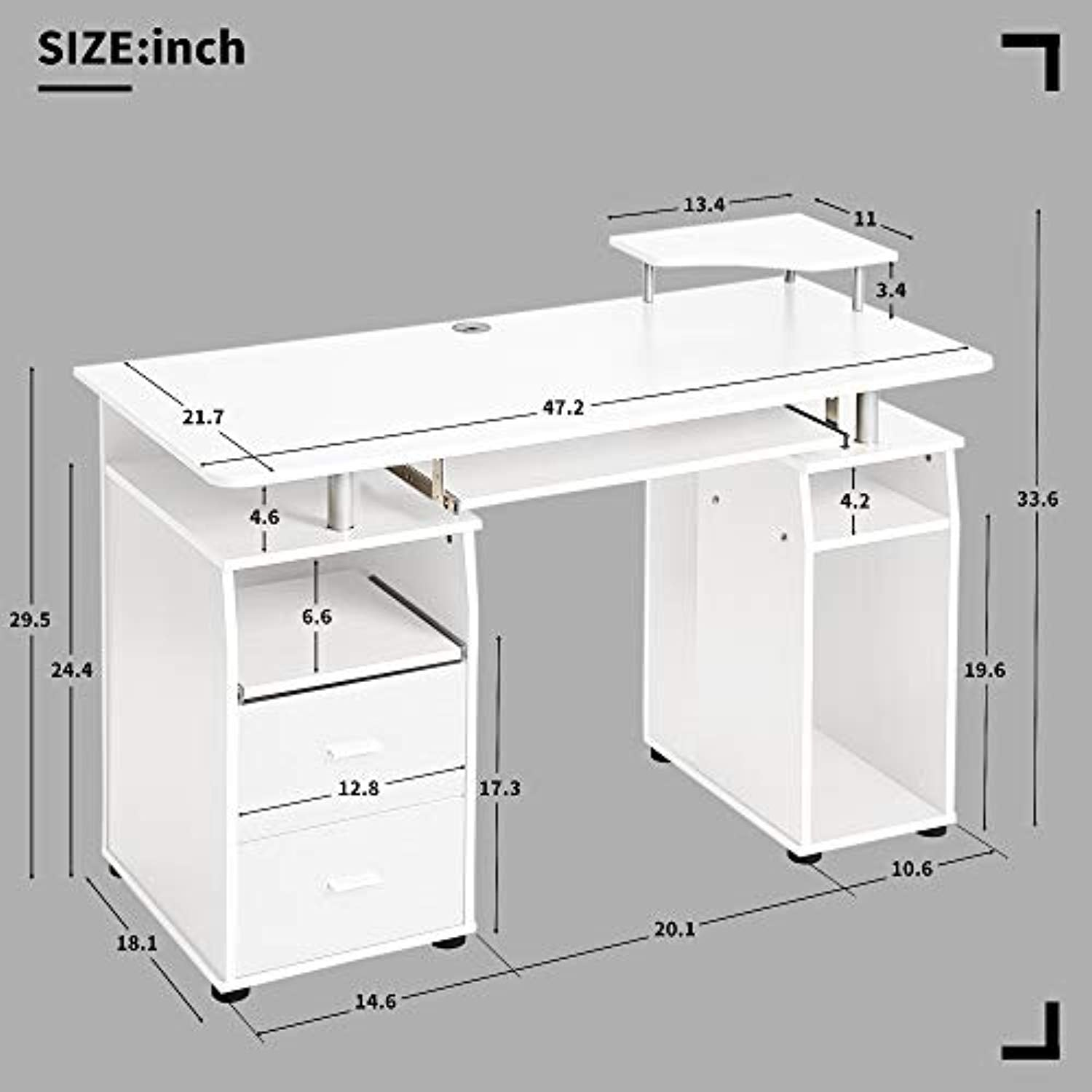 Home Office Computer Desk With Pull-Out Keyboard Tray And