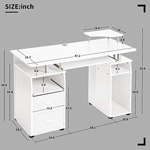 Home Office Computer Desk with Pull-Out Keyboard Tray and Drawers - EK CHIC HOME