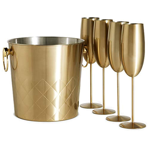 Brushed Gold Champagne Bucket with 4 Gold Champagne Flutes Glasses - EK CHIC HOME