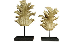 Rustic Leaf Sculpture on Stand Home Decor 2 Piece Set - EK CHIC HOME