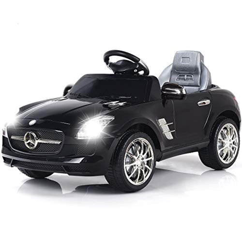 Mercedes Benz SLS Rechargeable Battery Powered Ride On Vehicle, Parental Remote Control and Foot Pedal Modes, with Headlights, Music - EK CHIC HOME