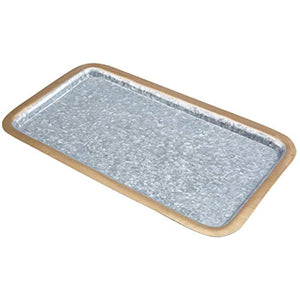 Decorative 16-Inch Rectangular Galvanized Metal Platter - EK CHIC HOME