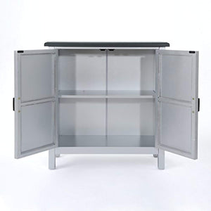 Silver Finished Firwood Cabinet with Faux Wood Overlay and Charcoal Top - EK CHIC HOME