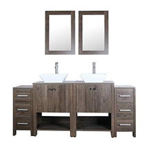 "Load image into Gallery viewer, 72"" Double Sink Bathroom Vanity Brown MDF Wood Cabinet w/Mirror Faucet and Drain - EK CHIC HOME"