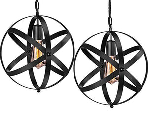 Industrial 2 Pack Vintage Spherical Pendant Light Fixture with 39.3 Inches Adjustable - EK CHIC HOME