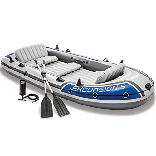 Excursion 5, 5-Person Inflatable Boat Set with Aluminum Oars and High Output Air Pump (Latest Model) - EK CHIC HOME