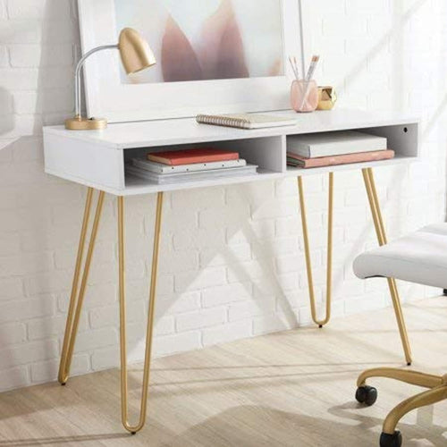 Hairpin Writing Desk with 2 Spacious Open Storage Cubbies, White