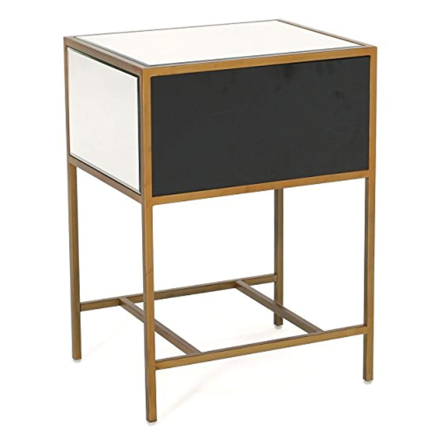 Chic Mirrored Gold Single Drawer Side Table