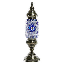 Load image into Gallery viewer, Blue Flower Moroccan Table lamp Lantern - EK CHIC HOME