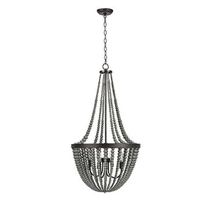 "Grey 4-Light Wood Chandelier, 45.5"" H, With Bulbs - EK CHIC HOME"