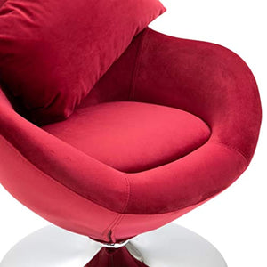 Swivel Egg Chair with Cushion Velvet French Armchair Red